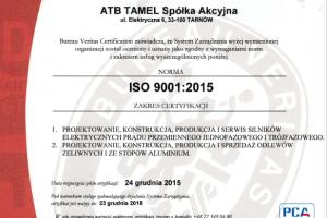 Bureau Veritas przyznaje ATB Tamel certyfikat zgodności z najnowszymi wymaganiami ISO