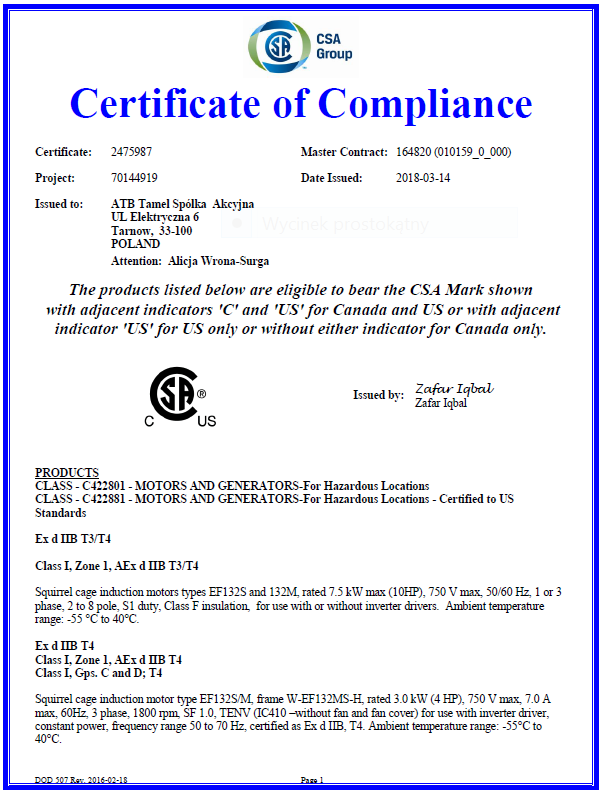 ATB Tamel obtains CSA certification for FS 112 flameproof motors for ...