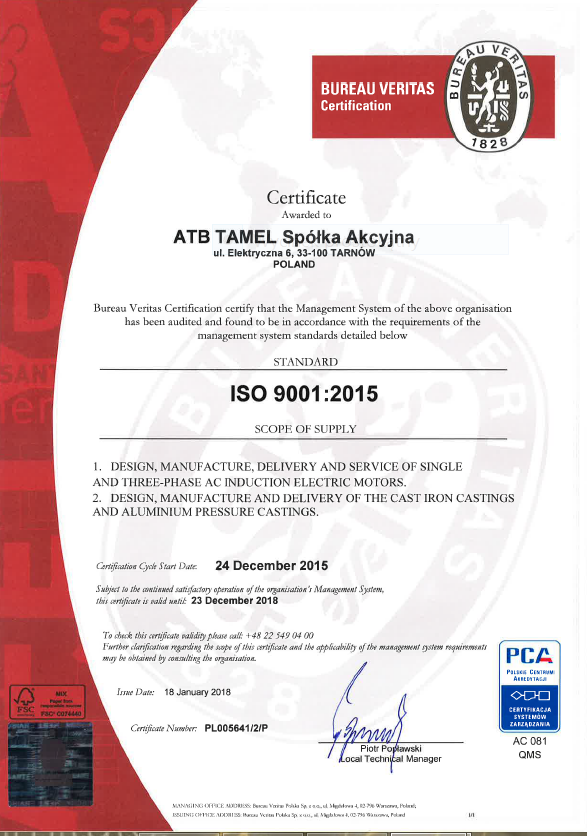 Bureau Veritas grants ATB Tamel certificate of compliance with the latest ISO requirements